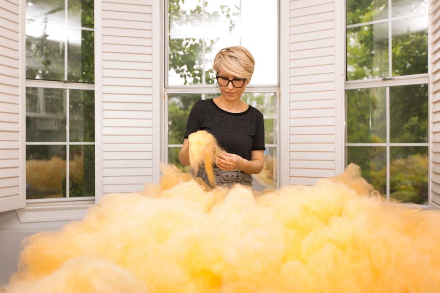 Bojana Ginn at work in the artist's home