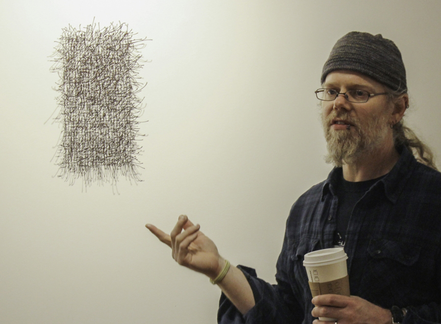 Morgan Alexander, speaking about his work no title-installation drawings (maple stems), 2016; collected maple stems.