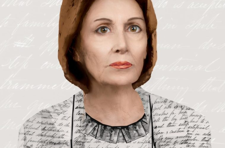 Suellen Parker's Nancy Pelosi, a 24-inch by 20-inch pigment ink print in Against the Tide at Whitespace (Courtesy of Whitespace and the artist)